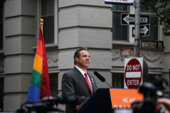 Governor Andrew Cuomo at Stonewall Inn rally for Orlando victims June 13, 2016.