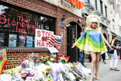 Lady Bunny at Stonewall Inn rally for Orlando victims June 13, 2016.