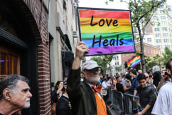 Photograph from Stonewall Inn rally for Orlando victims June 13, 2016.